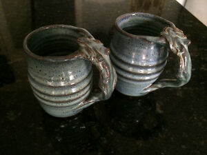 Artisan-Made Pottery Mugs with Mermaid Handles