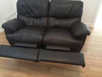 Brown leather reclining 2 seater sofa £50