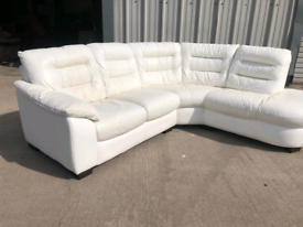 Dfs white leather corner sofa couch suite 🚚🚚