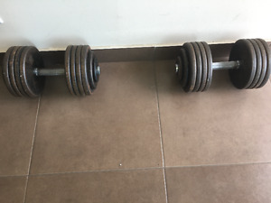 Pre-owned Steel Dumbbell Pair 95lbs for sale