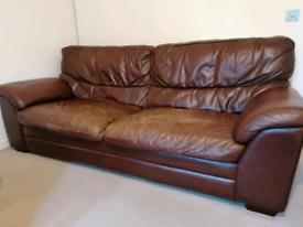 Leather sofa & 2 matching singe chairs