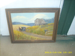 vintage 'e sparks' homestead framed oil painting