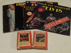 LOT DE 4 VINYLES ET 2, 8 TRACK DE JOHNNY FARAGO CHANTANT ELVIS
