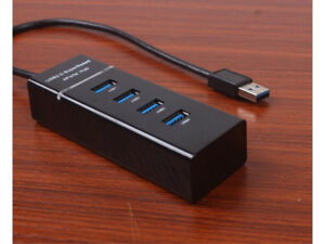 4 Port USB Hub, Portable SuperSpeed USB 3.0 Hub with Built-in Ca