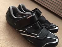 Shimano R078 SPD shoes (size 10) with cleats, ready to clip in and go.