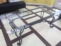 Lovely iron table with glass top