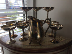 1 Silver Plated Pitcher & 12 Silver Plated Wine goblets