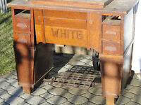 Antique White Treadle Sewing Machine Mission/Arts&Craft Cabinet