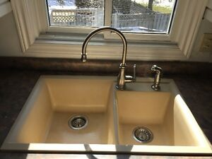 Double Kitchen Sink - Beige Silgranite Stone finish
