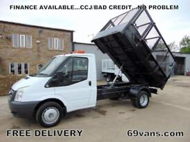 2007 07 FORD TRANSIT CAGED SIDE TIPPER, ONE OWNER, FSH, BEACONS, TOOL STORAGE