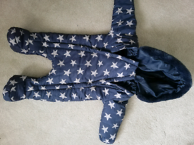 3-6 months blue snowsuit with stars
