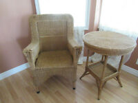 2 pc.set Antique Wicker Chair and Table