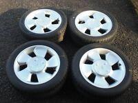Ford Puma alloys x 4 brand new Semperit Tyres, fit Fiesta MK2 XR2, RS Turbo, KA, Escort, kit car ?
