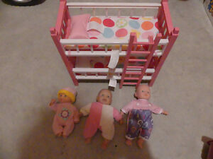 Small Doll Bunk Beds & 3 Dolls Kitchener / Waterloo Kitchener Area image 1