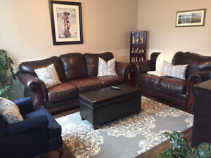 3 piece leather sofa, loveseat and chair