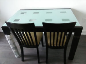 Glass dining tables with 4 chairs