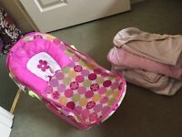 Bath seat and baby towels