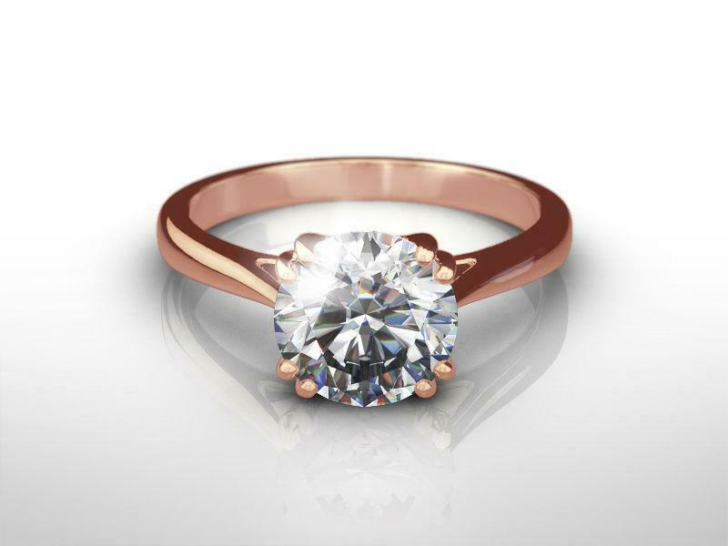 14k Rose Gold Red Round Diamond Ring Colorless Solitaire Wedding 1 1/2 Carats