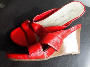 Bright red leather wedge heel by Bandolino