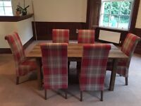 Next Chiltern Extending Dining Table and 6 Harlow Dining Chairs in Sterling Red Check Fabric