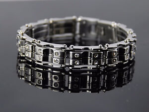 Chain Link Bracelet With Swarovski Crystals 9""
