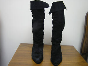 Women's Black Genuine Soft Suede Lined Knee High Boots