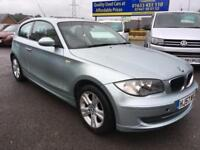 2007 57 BMW 1 SERIES 2.0 118D SE 3DR FULL CREAM LEATHER PATAGONIA GREEN PAN ROOF
