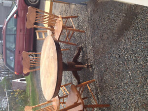 4 solid oak bare wood furniture made chairs