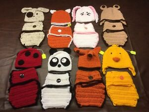 Hand Crocheted Diaper Covers With Matching Toques