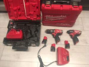 Milwaukee 12v, 1/4 in. impact driver, 1/2 in. hammer drill
