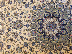 Semi Antique Hand Woven Kashan woolen rug, beige with floral pat