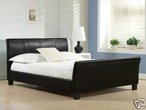 CHEAP DOUBLE KING SIZE LEATHER BED FRAME SLEIGH BED WITH