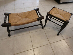 STOOLS WITH RUSH SEATS