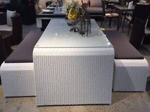 Wicker Outdoor Furniture Table And Two Benches --White Wantirna South Knox Area Preview