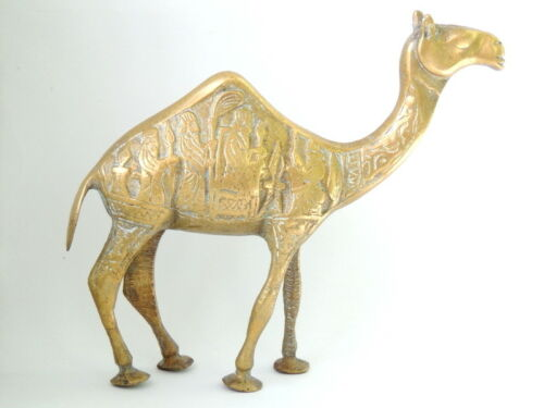 Heavy Vintage Bronze Brass Camel Decorative Etched Figurine / Figure / Statue