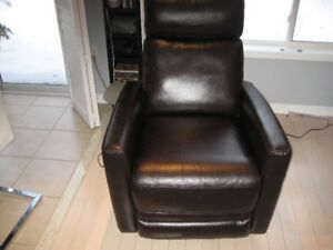 Brown Electric Leather Recliner / Rocker, Soaf & chair