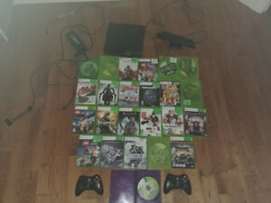 XBox 360 + kinect + 2 wireless remote controls and games
