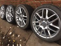 "As New 18"" Genuine BBS alloy wheels +new 225/40/18 tyres 5x112 VW Golf Passat Audi A3 Seat"