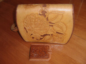 Leather purse and matching wallet