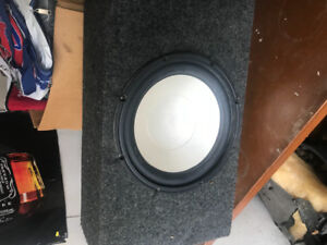 10 inch Infinity subwoofer in box with clear back.