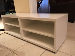 Ikea Besta TV stand with 2 shelves, white color
