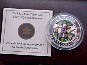"2013 CANADA $10 FINE SILVER PROOF ""TWELVE- SPOTTED SKIMMER"