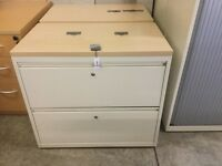 Cream 2 drawer desk high side filling cabinets