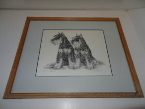 """$150 """"Two Schnauzers"""" litho by Unknown"""