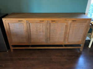 Crate and Barrel Teak Media Console