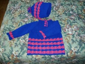 Baby Clothing - Hand knit baby sweater and matching hat