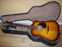 Fender acoustic guitar and case