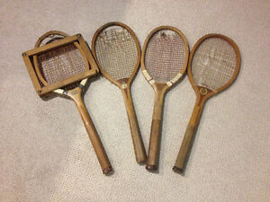 Vintage Wooden Tennis racquets, 4 total, 1 head cover, $20.00