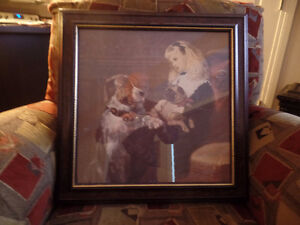Nice Victorian Style FRAMED PICTURE (Dogs & Little Girl) AS NEW