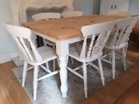 Gorgeous 5ft Shabby Chic Farmhouse Pine Table and 6 Fiddle Back Chairs